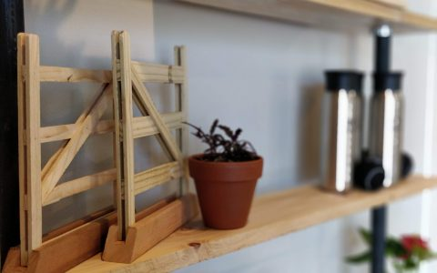 wooden shelf with planter